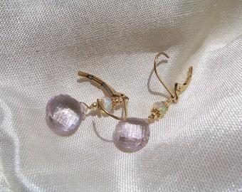 Pink amethyst briolette  heart  Ethiopian opal earrings 14k gold filled interchangeable leverback handmade  MLMR item 788x