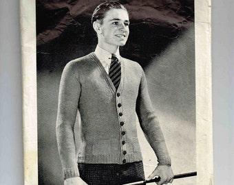 Vintage Monarch Man's Cardigan Knitting Pattern No. 562, Size 42, Includes Tissue Pattern To Block Sweater After Knitting