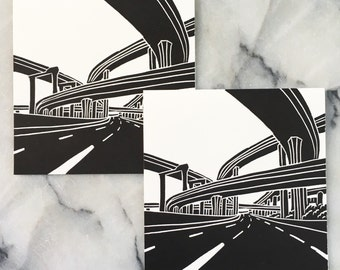 Harbor and Century Freeways, Set of 4 Cards with Envelopes