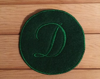 Green Iron-On Monogram, Embroidery Letter D