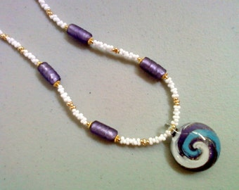 Lavender, Cornflower Blue and White Necklace (0088)