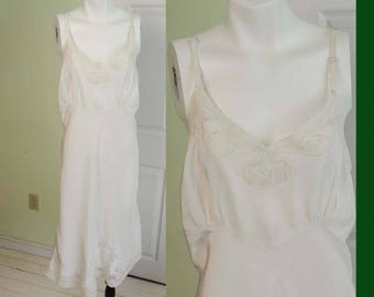 Vintage White Rayon Woman's Slip with Illusion Lace