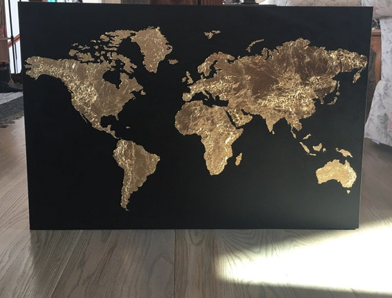 Gold leaf map original gold leaf map of the world gold leaf gold leaf map original gold leaf map of the world gold leaf globe on canvas custom world map in gold leaf gumiabroncs