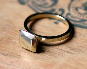 14k yellow gold engagement ring, non diamond engagement ring, faux diamond ring, modern engagement ring, Asscher cut ring, square stone ring
