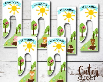 Baby Closet Dividers - King Rectangle Clothes Organizers - Wild Fun- Clothes Organizers Nursery Decor Baby Shower Gift - Animals