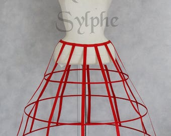 Red color triangular Crinoline hoop cage skirt pannier 3 rows elastic waist simple cage