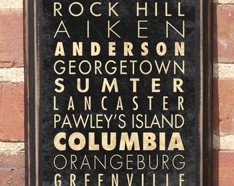 South Carolina Cities Sc Wall Art Sign Plaque Gift Present Home Decor Columbia Charleston Greenville Florence Myrtle Beach Antiqued