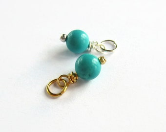 Turquoise Gemstone Charm - December Birthstone Charm - Sterling Silver or 14K Gold Filled - Blue Gemstone Prewired Charm - 13x6mm