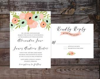 coral wedding invitations, printed wedding invitations, mint wedding invitations, formal wedding invites, elegant wedding invitations