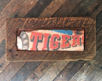 Detroit Tigers 1968 Vintage Sign on Brick Face, framed in Historic Detroit Reclaimed Wood, print wall hanging