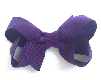 Dark purple hair bow - hair bow, hair bows, bows, baby bows, hair bows for girls, pigtail bows, toddler bows, girls hair bows, small bows