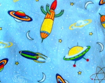 Marcus-Brothers-Fabric-By-The-Yard-Space-Rocket-Ships-Blue-Cotton-Flannel-Quilt-Fat-Quarter-Sew-DIY-Projects-Crafts-Supplies