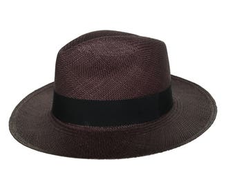 Handwoven Chocolate Brown Panama Straw Hat
