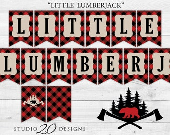 Instant Download Buffalo Plaid Birthday Banner, Black Red Little Lumberjack Baby Shower Banner, Black Red Plaid Bunting Banner #87A