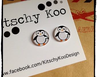 Glass Penguin Earrings. Studs, glass tile, hypoallergenic for sensitive ears
