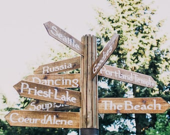 Handmade Rustic Custom Wood Directional Pointer Direction Signs with Post