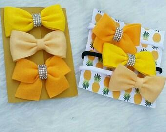 Yellow Felt hairbows set of 3, nylon headband, felt bow