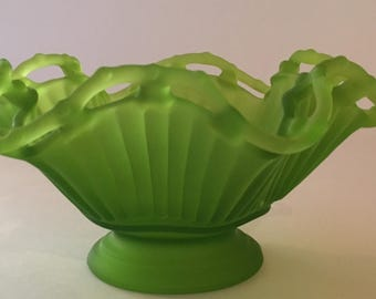 Vintage Westmoreland Satin Green Glass Bowl