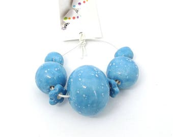 Handmade Ceramic Bead Set, Speckled Sky blue Bead Set, glazed ceramic beads, kiln fired beads, artisan beadsUK