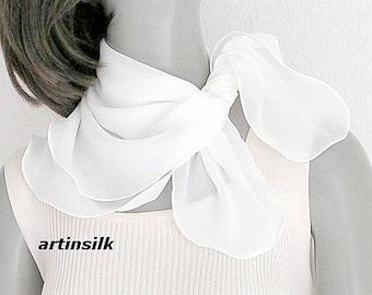 Small White Scarf Square Neck Scarf, Petite White Scarf, Pure Silk Chiffon Natural white, choose size 21x21 22x22 23x23 24x24, Artinsilk