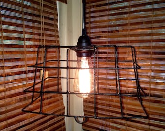Wire Basket Rustic Swag Lamp