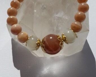 Sunstone and Moonstone bracelet, crystal jewelry, gemstone.