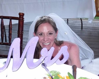 Mr. & Mrs. Purple Glitter letters wedding table decoration, freestanding Mr and Mrs signs for sweetheart table