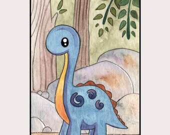 Little Blue Dinosaur - 8.5x11 Print