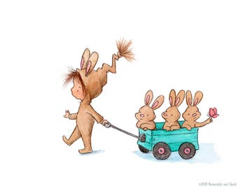 Along For The Ride - Toddler Baby Girl and Bunnies- Art Print