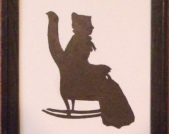 rocking chair silhouette. Silhouette Of Lady In Rocking Chair
