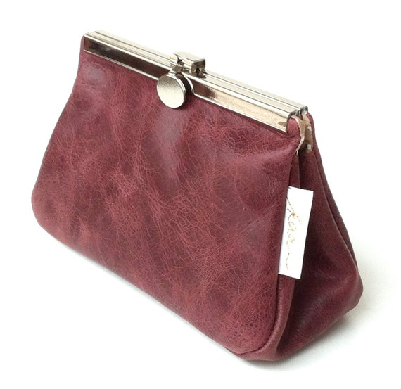 Leather cosmetic bag,red leather pouch,small leather clutch, leather makeup bag,leather pouch cosmetic,leather bag beauty