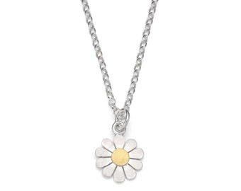 Little Daisy flower pendant necklace in solid silver and 18ct gold