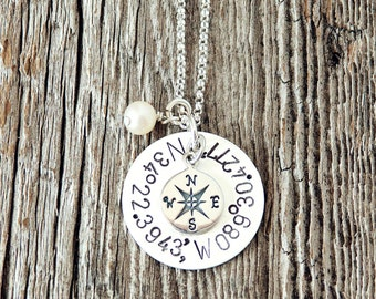 Coordinate Necklace, Compass Necklace, Hand Stamped Coordinate Necklace, Anniversary Gifts, Birthday Gifts, Wedding Gifts, Adoption Gifts