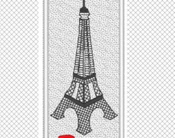 FSL Lesezeichen Paris Eiffelturm - Buch Liebhaber-Geschenk - Reise-Geschenk - FSL - Stickmuster - verschiedene Formate
