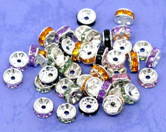 50 Silver Plated Mixed Color Rhinestone Flat Edge Spacer Beads 8mm (B153e)