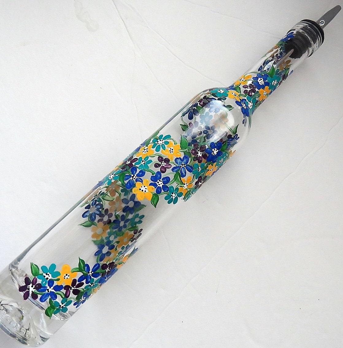 Tall slender Recycled bottle Oil dispenser, Olive oil, Clear glass ...