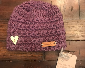 Purple crochet hat with wooden heart button 0-3 months