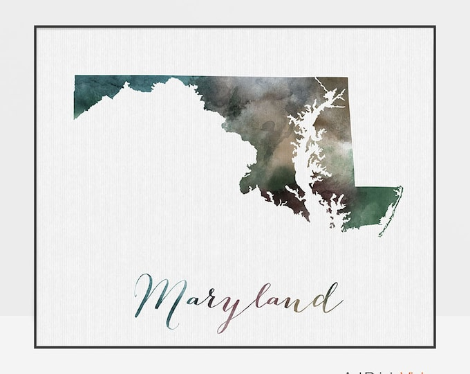 Maryland state map, Watercolor map, Wall art, Maryland map poster, Maryland state watercolor print, fine art watercolor print ArtPrintsVicky
