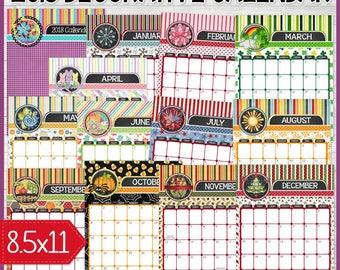 2018 Desk Calendar, Printable Wall Calendar, Monthly Calendar, Dated, Decorative Calendar ANNUAL, Letter Size - Printable INSTANT Download
