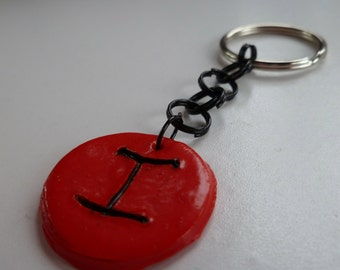 Red Intial I Keychain