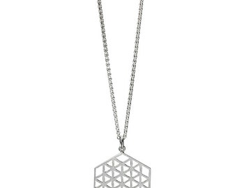 Flower of Life in Hexagons Silver Sacred Geometry Necklace for Men or Women
