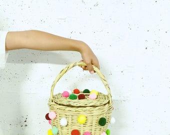 PomPom Small Jane Birkin Basket with Lid // Handwoven Birkin Basket //basket adorned with colourful PomPom// Kids Basket
