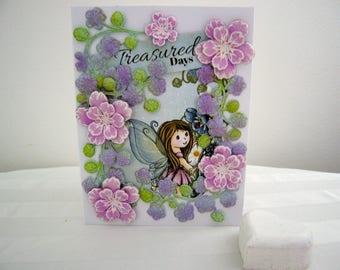 handmade greeting cards,blank card,dogwood flowers card,3-D ,unique,special card,shaped flowers,embossed flowers,fairy card,wings,cute card