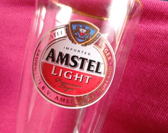 Amstel Light Beer Glass, Brewery Crystal Glass, Amsterdam Holloand, Has stencil logo type