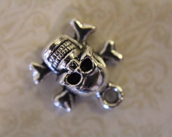 Silver Toneskull and crossbones grinning x 10 - Halloween, Day of the dead, Día de Muertos, Skeleton