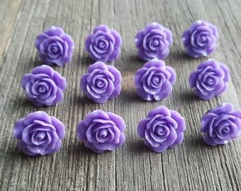 Decorative Purple Floral Flowers Thumbtacks Set of 12 Office Decor Home Decor