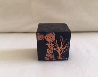 Vintage Copper Woodblock Printing Cube Windmill Scene