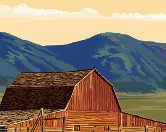 Whitefish, Montana - Red Barn & Horses - Lantern Press Artwork (Art Print - Multiple Sizes Available)