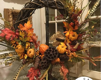 READY TO SHIP Front Door Wreath | Everyday Wreath | Fall Wreath | Door Wreath | Door Decor | Front Door Decor - Willa Green Home