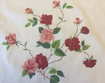 Wilendur Dutchess Rose Kitchen Towel, 1950's Vintage Pink White Printed Cotton, Small Table Runner